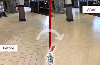 Before and After Picture of a College Point Lobby Floor Cleaned to Even the Grout Color