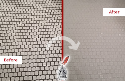 Before and After Picture of a College Point Mosaic Tile floor Grout Cleaned to Remove Dirt