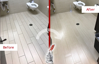 Before and After Picture of a Dumbo Office Restroom's Grout Cleaned to Remove Dirt