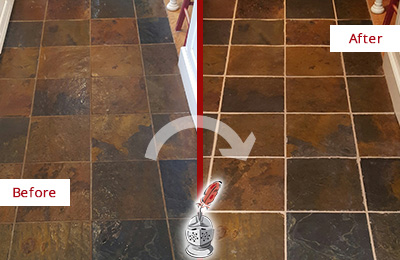 Before and After Picture of a Georgetown Slate Floor Recolored Grout