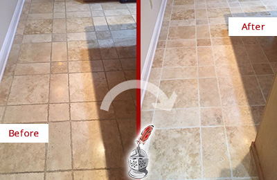 Before and After Picture of a Richmond Hill Travertine Kitchen Floor Recolored Grout