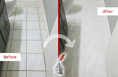 Before and After Picture of a Richmond Hill White Ceramic Tile with Recolored Grout