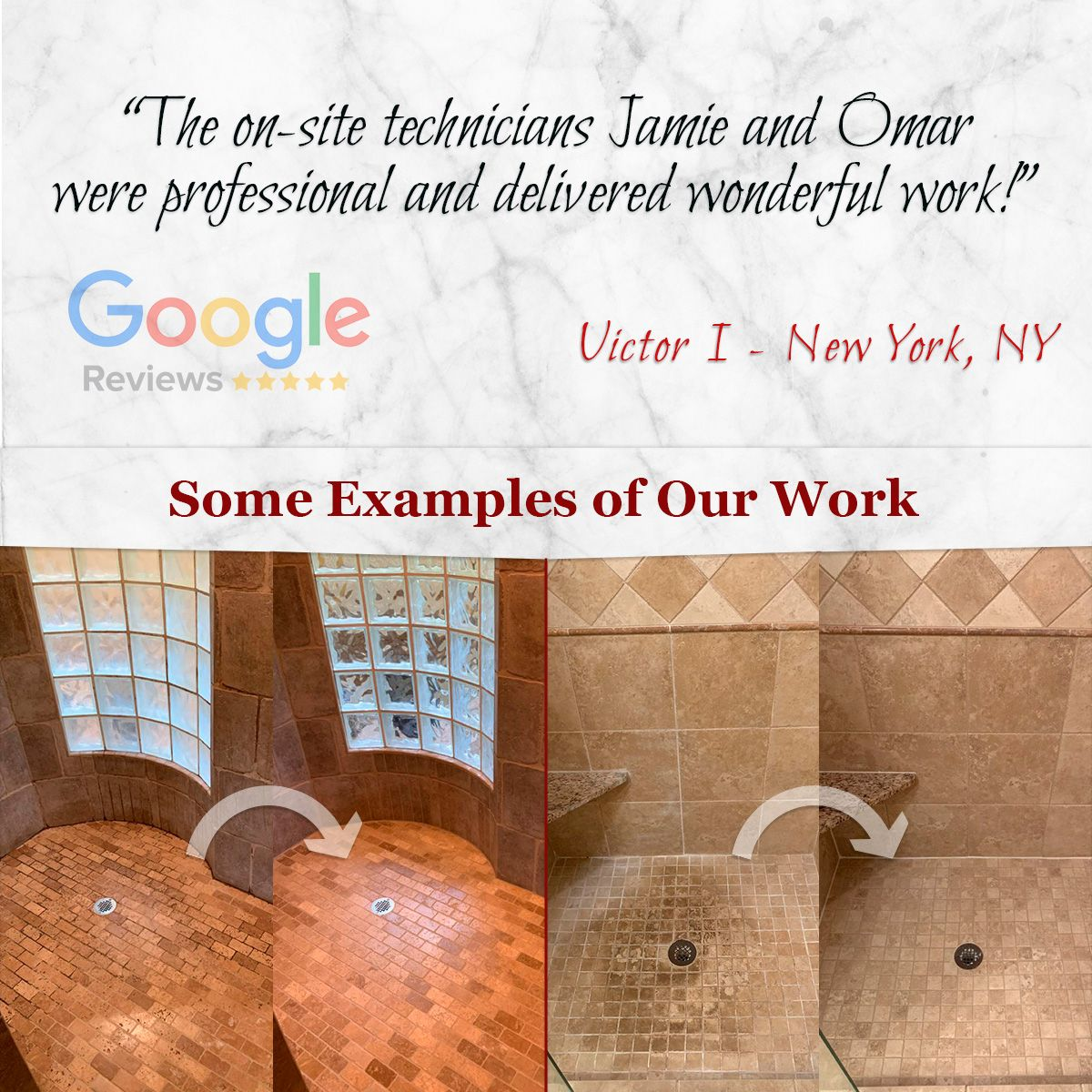 The on-site technicians Jamie and Omar were professional and delivered wonderful work!